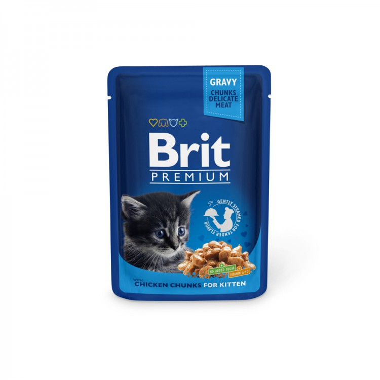 Паучи для котят Brit премиум Chicken Chunks for Kitten Курица для котят, 100г