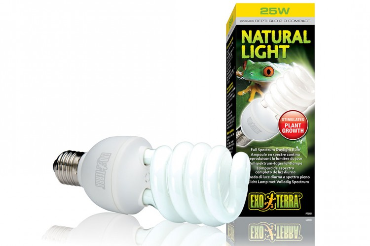 Лампа Exo Terra Reptile Natural Light former UVB2.0 Compact, 25 W PT2191